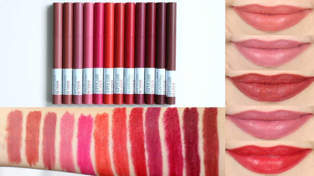 Maybelline Superstay Ink Crayon Lipstick Lip Swatches Review