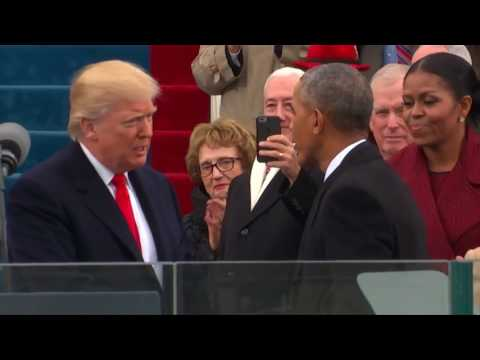 Donald Trump arrives on stage to be sworn in as 45th president