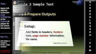ECDL/ICDL Microsoft Word Tutorial Exam Cram Practice Test Q. Solution