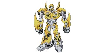 How to draw Transformers Bumblebee step by step