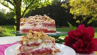 Rhubarb-strawberry Cream Cake/ Rhabarber-erdbeer-sahne Torte