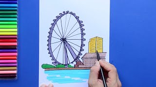How to draw and color the London Eye