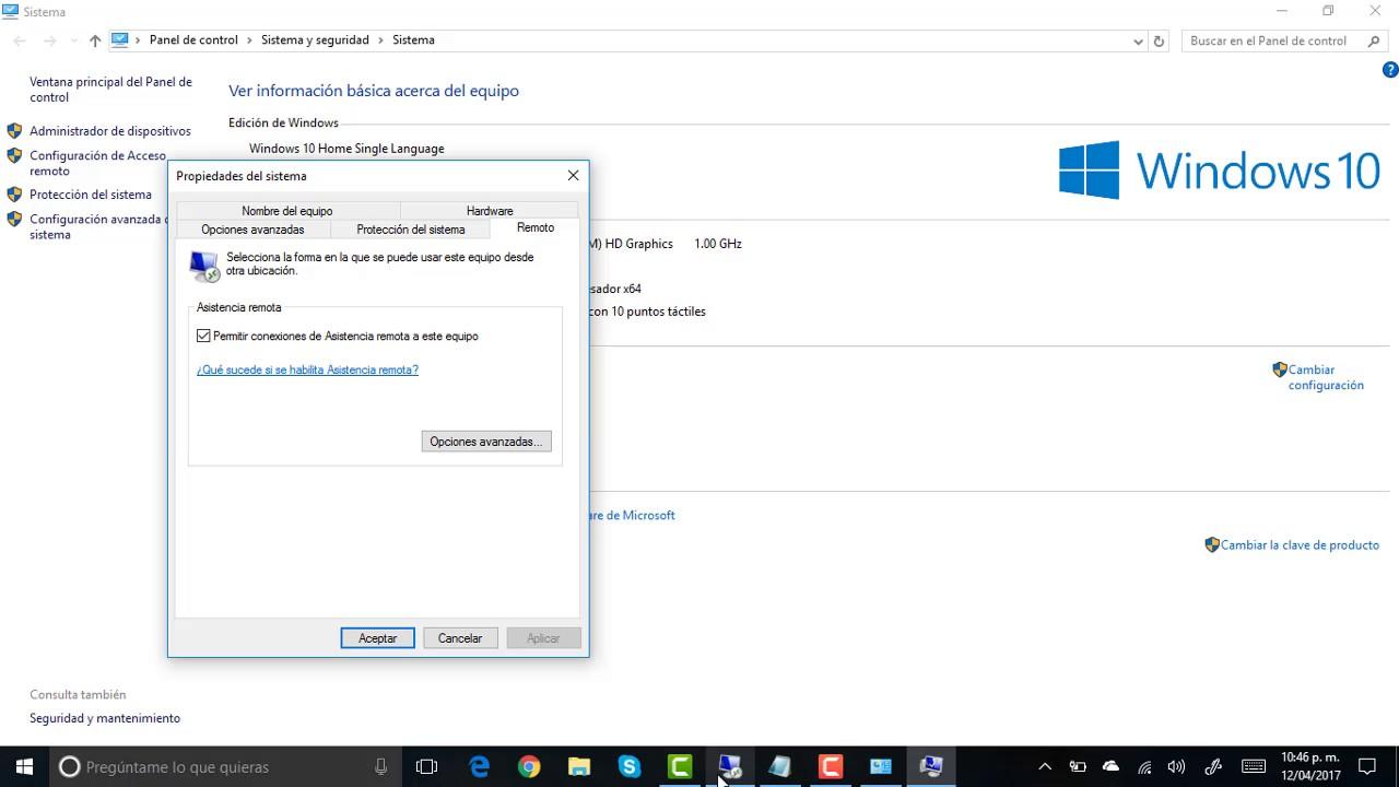 Habilitar Escritorio Remoto En Windows 10 Youtube