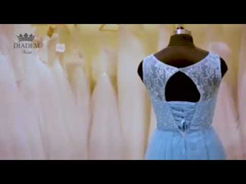 Sky blue party wear gown with lace and bead work - Diadem Bridal