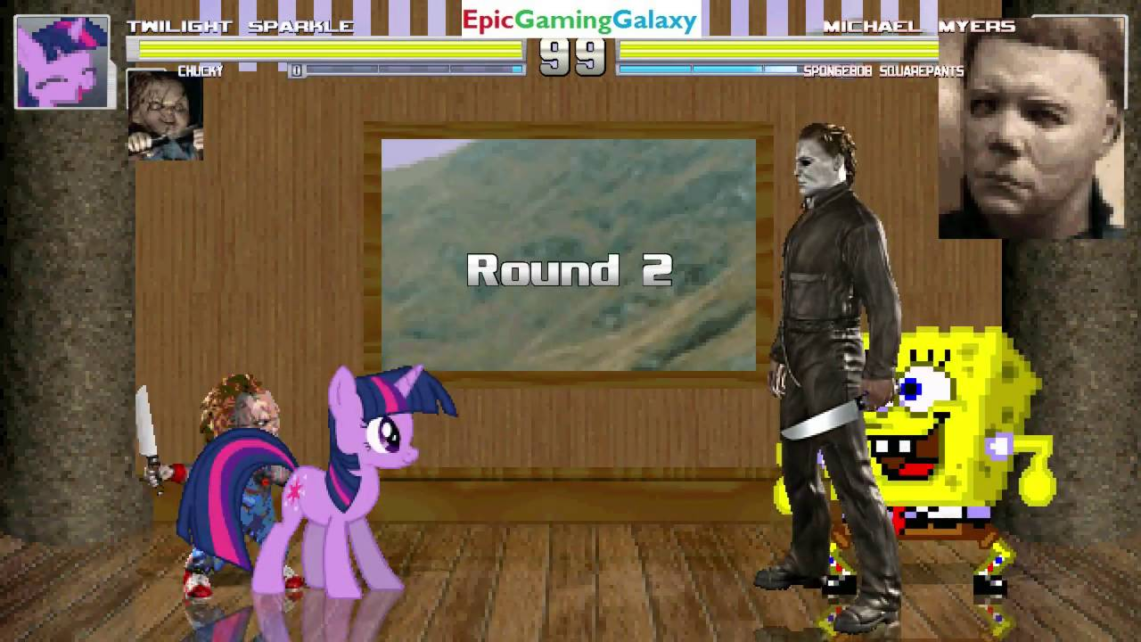 Chucky The Killer Doll Twilight Sparkle VS Michael Myers SpongeBob SquarePants In A MUGEN Match EpicGamingGalaxyMarvelousHDContentUnleashed