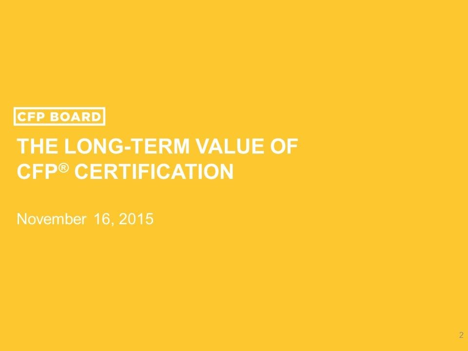 The Long Term Value Of Cfp Certification Youtube