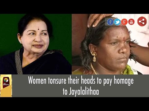 Women tonsure their heads to pay homage to Jayalalithaa