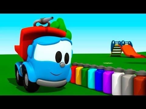 Léo o caminhão. As cores para crianças. Desenhos animados