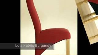 Kuba Solid Oak Dining Table & 8 Red Lola Fabric Dining Chairs