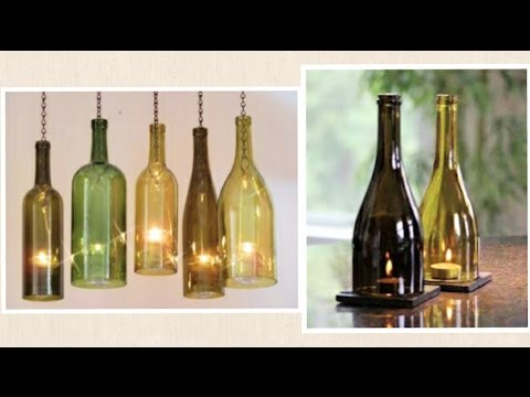 Diy wine bottle glass bottle craft candle holder for How to make candle holders out of wine bottles