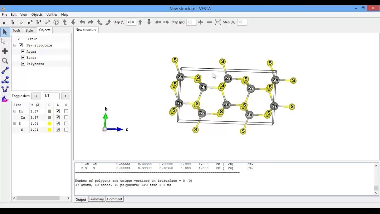Hexagonal crystal structure with Vesta (ZnS)