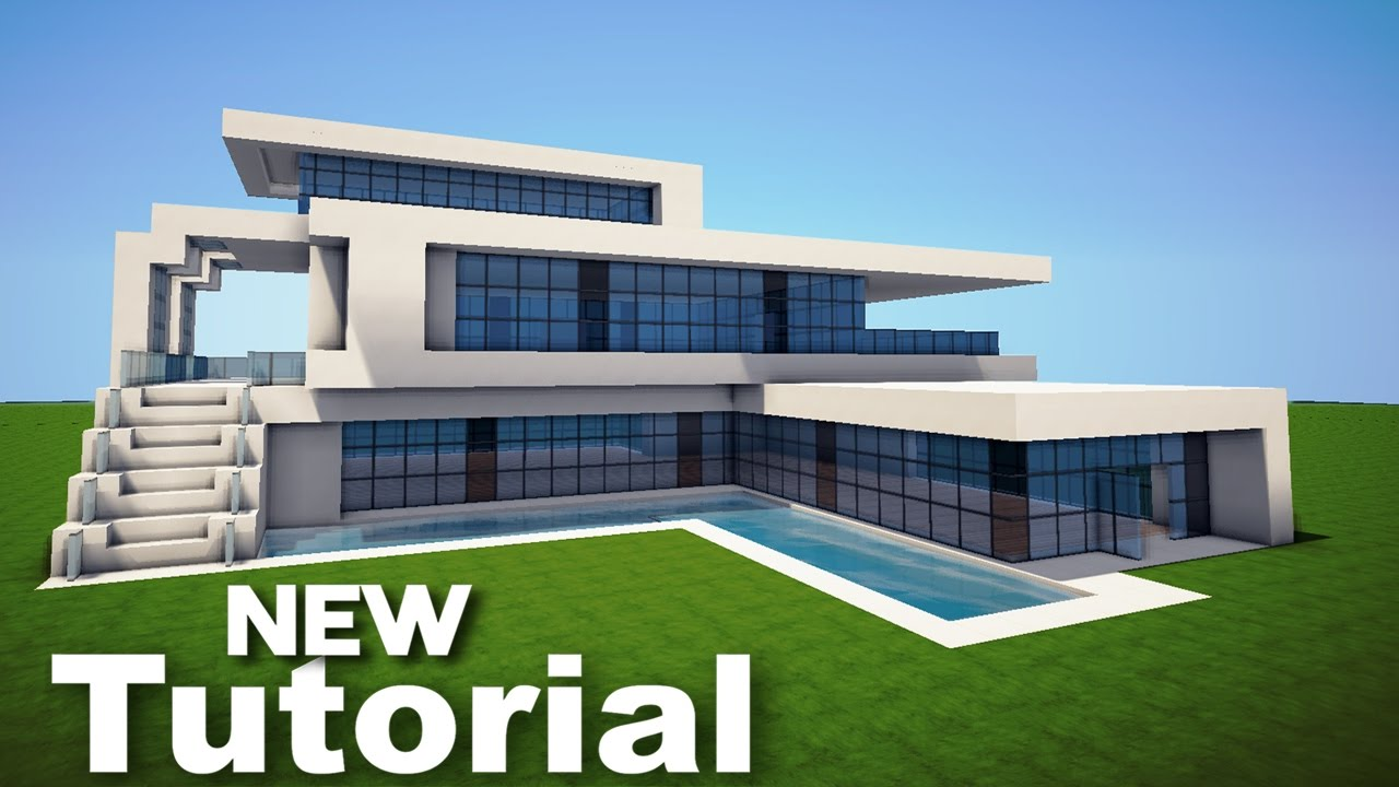 Minecraft how to build a realistic modern house mansion for How to build a house step by step instructions