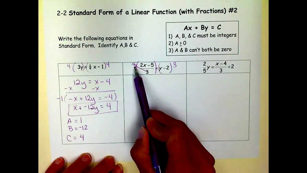 Standard form of a linear function with fractions 2v youtube standard form of a linear function with fractions 2v falaconquin