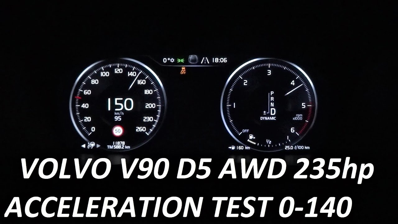 2018 VOLVO V90 D5 AWD 2.0 235hp – Acceleration Test 0-100 km/h 0-140
