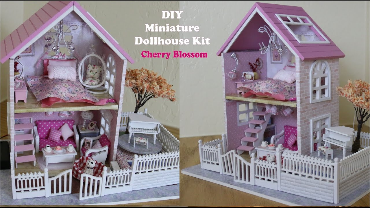 Miniature Dollhouse Diy Pink Cherry Blossom Doll House Kit Part 1