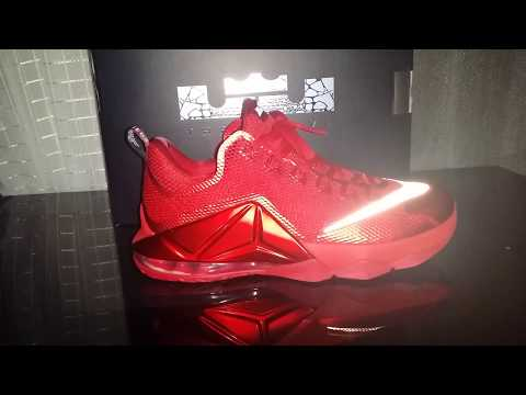 cd83cac12476 Nike Lebron XII (12) Low University Red 724557-616 - YouTube