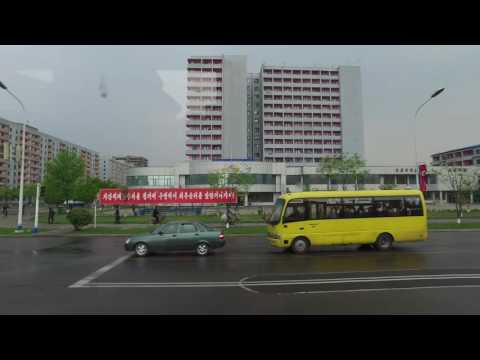 Pyongyang - streets in the city. North Korea May 2016 DPRK. UltraHD 4K