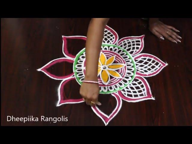 latest colour rangoli designs 2018 l freehand kolam design l simple rangoli designs for navarathri