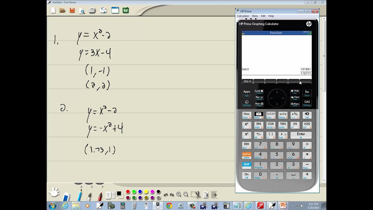 Technology in College Algebra - Systems of Non-Linear Equations - HP Prime