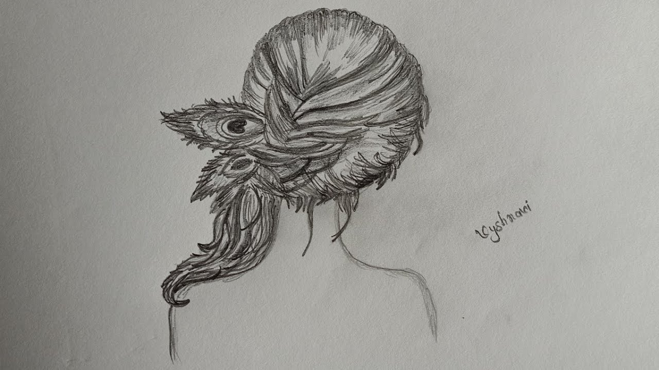 How to draw a girl curly hair with peacock feather pencil ...