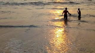 Sunset time view calangute beach goa india tourism