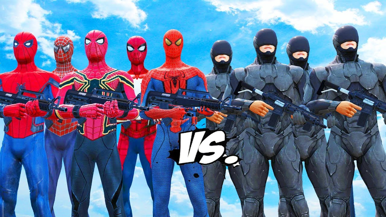 Download RoboCop Army VS Spiderman Suits - Spiderman, Iron Spider, Spider-Man 2002, The Amazing Spider-Man