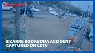 Bizarre bodaboda accident captured on CCTV camera, rider, and passenger escaped with minor injuries