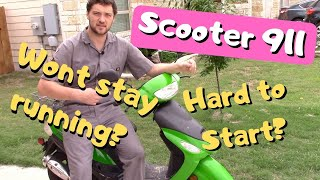 Scooter 911: Hard to Start or Wont Stay Running? Try a VALVE ADJUSTMENT! (works for most scooters!)