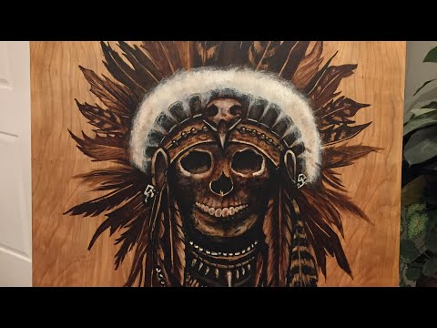 Indian Skull head Stain Art - by Karen Governale