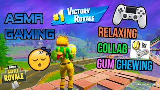 ASMR Gaming 😴 Fortnite Relaxing Collab Clutch Gum Chewing 🎧🎮 Controller Sounds + Whispering 💤