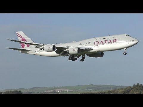[4K] Qatar Amiri Flight Boeing 747-8BBJ Landing At Prestwick Airport