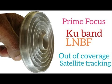 Prime focus lnb for out of coverage satellite tracking