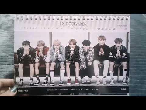 BTS ( 방탄소년단 ) 2018 and 2019 photo card desk calendar / 2 Photo cards & 1 Sticker   Review  