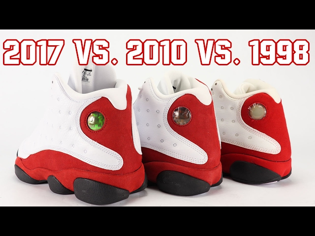 new product eb109 4baa5 Comparison of the 2017 vs 2010 vs 1998 Air Jordan 13 Chicago aka Cherry in  White and Red. See the differences between the 1998 Original, 2010 and 2017  Air ...