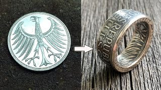 Turning Simple Coin into an Amazing Ring! How It's Made / #Münzring Silber Deutsche Münze 5 Mark