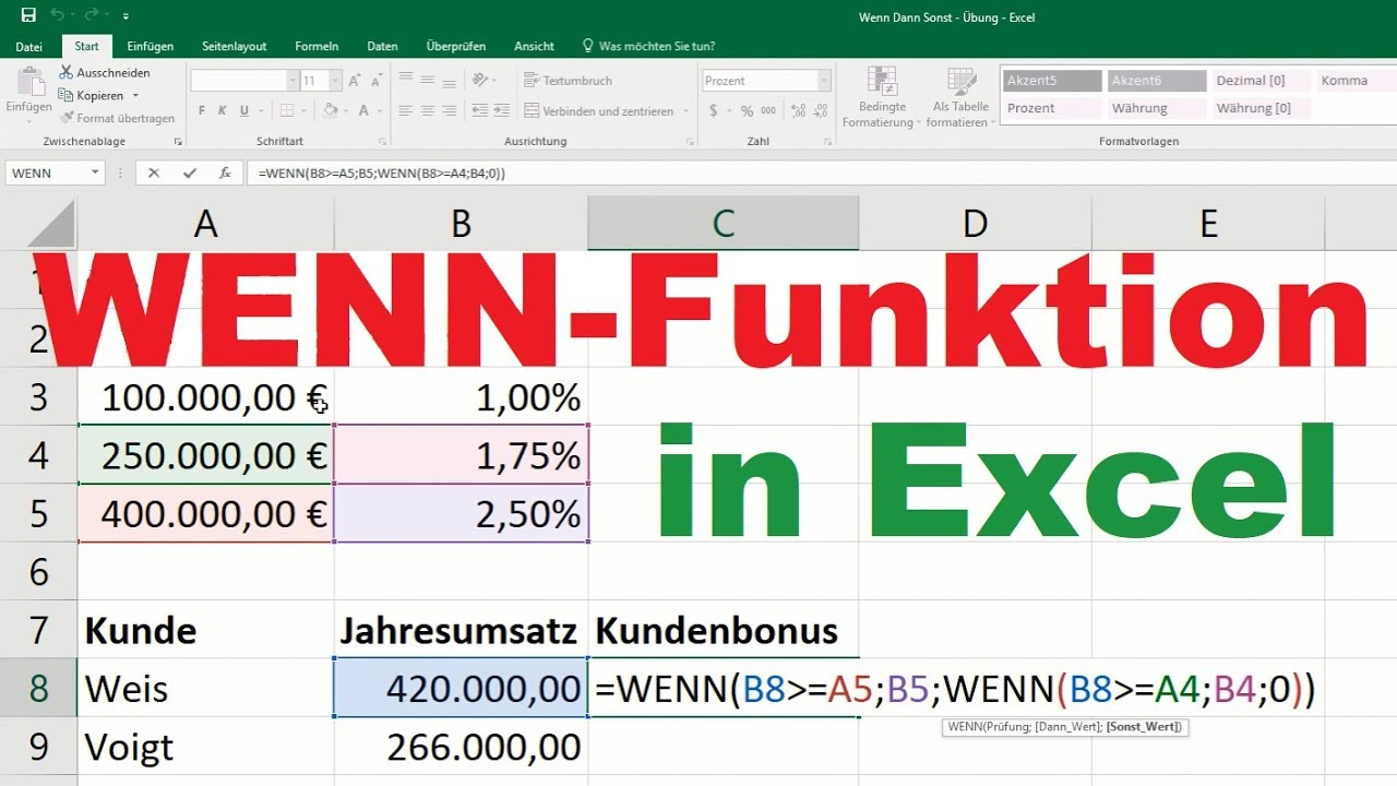 Excel Formeln Wenn Dann Sonst