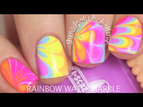 Diy neon rainbow water marble nail art youtube diy neon rainbow water marble nail art prinsesfo Image collections