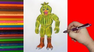 How to draw Phantom Chica, FNaF, Как нарисовать фантом Чику, ФНаФ