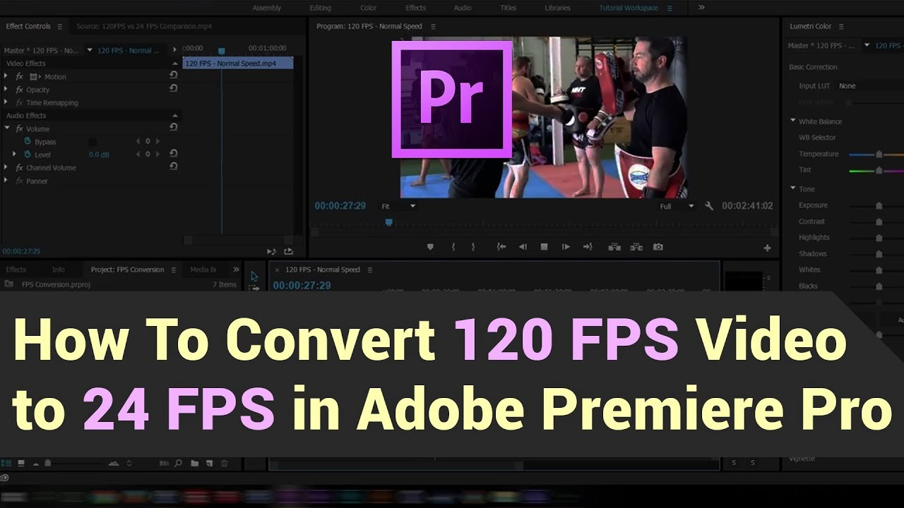 How to convert 120 FPS footage to 24 FPS in Adobe Premiere Pro - YouTube