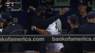 Robinson gets doused discussing first homer
