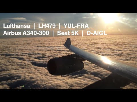 Awesome Take-off - Lufthansa A340-300 in Montreal - nice Engine Sound