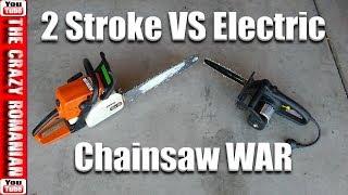 Cheap Electric 10 Inch CHAIN SAW vs 2 Stroke Stihl 14 Inch Chain SAW   Electric VS 2 Stroke cr