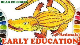 Colors For Kids, Toddlers: Coloring Crocodile 💦⚡