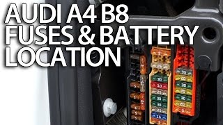 Where are fuses and battery in Audi A4 B8 (fusebox location, positive terminal for jumpstart)