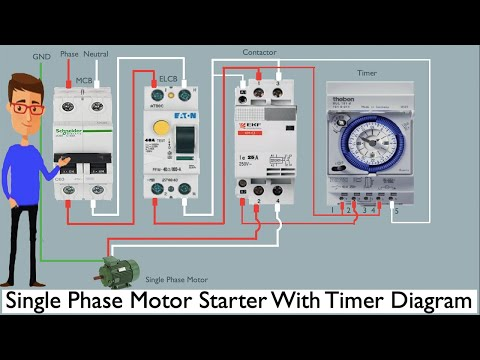 Single Phase Motor Starter With Timer Diagram Single Phase Motor Timer Youtube