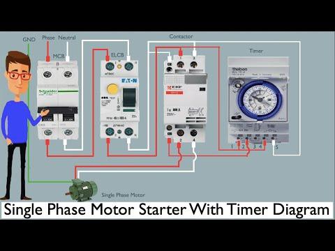 Single Phase Motor Starter With Timer Diagram | single phase motor | timer  - YouTubeYouTube