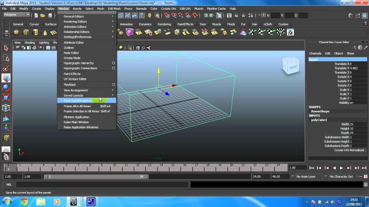 Learn Maya 2015: The basics - 6 -- Using the translate tool and  orthographic cameras