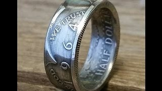 How to make a silver 1964 JFK Kennedy  half dollar double sided coin ring