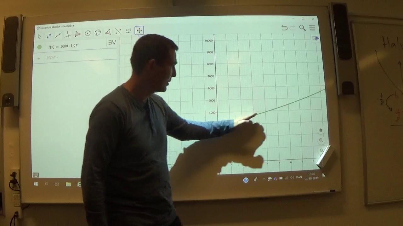 Mat C 2.2b Geogebra Fordoblingskonstant vha graf