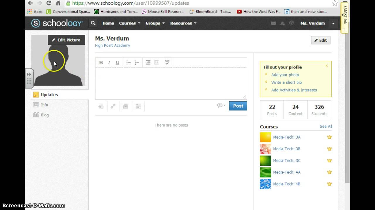 Changing the Profile Picture on Schoology - YouTube